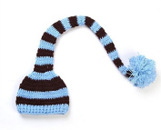 AccessoryStation® Fashion Unisex New-born Boy Girl Cute Colourful Stripes Crochet Knitted Photography Baby Hat with Long Braid