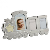 2 Tone Aluminium 35cm Train Photo Frame 4 Aperture