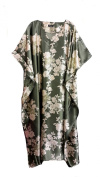 (14220) Ladies Green with Gold/Red Floral Printed Silky Soft Satin Long Kaftan