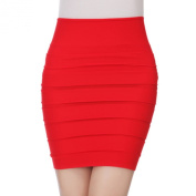 Hee Grand Womens Sexy Bodycon Wrinkles Short Skirt Red