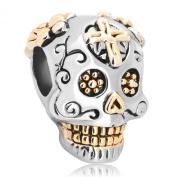 Pugster Gold Plated Dia De Los Muertos Skeleton Skull Charm