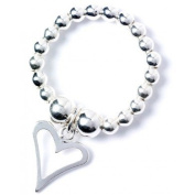 Sterling Silver 'Rice & Noodle' Ball Bead Ring with Open Heart Charm