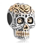 Pugster Sale Cheap Gold Plated Dia De Los Muertos Skeleton Skull Flower Charm Beads Fits Pandora Bracelet