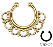 Gold Plated Intricate Fan Non-Piercing - Fake Septum Clicker - Pierced & Modified Body Jewellery
