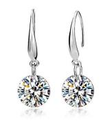 Sparkling Clear Cubic Zirconia S925 Sterling Silver Drop Hook Earrings for Women