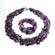 Bling Jewellery Multi Strands Simulated Amethyst Chips Cluster Necklace and Bracelet Set Silver Plated