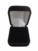 Gorgeous Premium Domed Shape Black Velvet Ring Box With Metal Hinge