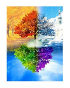 TSING DIY Crystals Paint Kit 5D Diamond Painting Trees 25cm W*36cm L-Reflection Tree