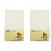 DK Glovesheets Two Fitted 83 x 50cm Crib Sheets 100% Combed Jersey Cotton - To Fit Chicco Next 2 Me Crib - WHITE - TWO PACKS