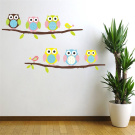 Cute Six Owl on the Tree DIY Wall Decal