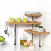 Bamboo and Stainless Steel Corner Shelf Unit - Kitchen - Bathroom - Desktop - Perfect space-saving idea.