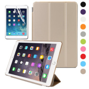BESDATA Magnetic Smart Cover Stand + Translucent Hard Back Case for Apple iPad Mini 2 / iPad Mini 3 + Free Stylus + Screen Protector - Gold - PT3109