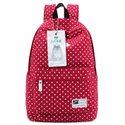 Lightweight Casual Daypack Canvas Polka Dot Backpack 36cm - 38cm Laptop PC School Bag for Teenage Girls