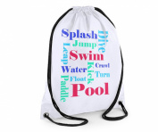 Swimming bag,Boys Swim Bag,Boys Text Bag, White Sports Bag,Kids Sports Bag