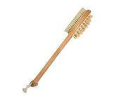 41cm Long Bath Body Brush with Natural Bristles Exfoliating Dry Skin Brushing. Extension Long Handle for Back Scrubber, Detachable Hand Grip Handle with Strap / for Dry Skin Brushing, Shower, Bath, Cellulite, Exfoliating, Massager, Detox, Spa