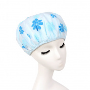 Lvge Korean Microfiber Double Layers Elastic Reusable Waterproof Shower Cap Blue