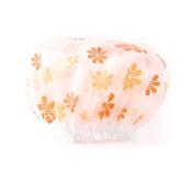 Lvge Womens Double Layers Elastic Reusable Waterproof Shower Cap Orange Plumflowers