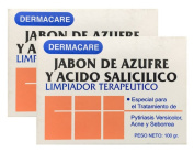 Dermacare Sulphur and Salicylic Acid Bar Soap, 100 gr - Package of 2.