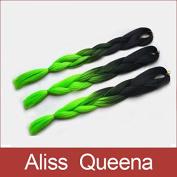 Aliss Queena(TM)Folded length 60cm Black & Green 80Grams Ombre Two Tone Coloured Kanekalon Jumbo Braiding Hair