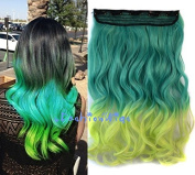 Green to Light Green Two Colour Ombre hair extension, Synthetic Hair extensions UF241