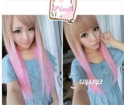 Ecvtop New Fasion Two Tone Long Straight Highlights Hair Wigs Brown to Pink/ Black to Blue