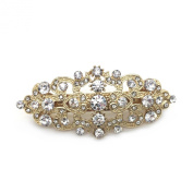 Bridal Hair Barrette Gold Plated Romancing Heart Rhinestone Crystal Small 6.4cm