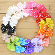 ChicStar 15pcs Baby Girls 7.6cm Boutique Cute Polka Dot Grosgrain Ribbon Hair Bows Hair Clips Barrettes in 15 Colours