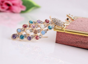 Beyend Vintage Style Peacock Brooch Pin Multi Colour Crystals