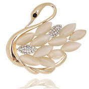 Beyend Vintage Style Swan Brooch Pin cat's-eye
