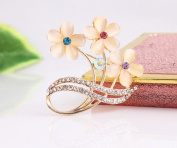 Beyend Fashion Flower Brooch Pin Cat's-eye
