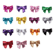 SEEKO 15PCS Mix Colours Hair Accessories Sequin Bow Tie Headbands Hair band TFA111MX
