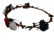 Patriotic Flower Crown- Bridal Woodland Flowers Crown, Red White and Blue Wedding Headpiece, Bridal, Circlet, Halo.