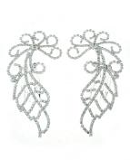 NYfashion101 Women's Rhinestone Studded Leaf Pattern Pair Hair Comb NHCY2010SY