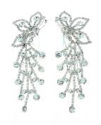 NYfashion101 Women's Rhinestone Studded Butterfly Pair Hair Comb NHCY2002SY