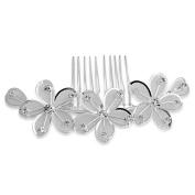 Skyus® Silver Plated Flower Rhinestone Crystal Wedding Hair Comb Pin Tiara Fashion