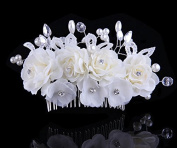 Women Flower Crystal Rhinestone Pearls Diamante Hair Comb Clip Wedding Bridal