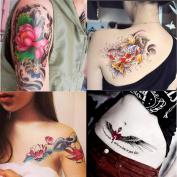 Dalin 4 Sheets Fashion Temporary Tattoos, Lotus, Fish, Wings, Sexy Lady