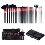 Ovonni Professional 32 Piece Makeup Brush Cosmetic Brushes Set Kit Synthetic with Wooden Handle, with Pouch Case Bag for Foundation, Eyeshadow and More