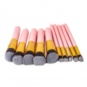 iMeshbean® New 10 pcs Professional Makeup Brushes Set Cosmetic Foundation Powder Professional Blush Eyeliner Brush Tool Pink Colour USA