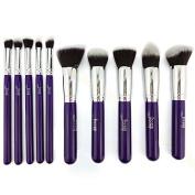 Jessup 10pcs Professional Make up Brushes Set Foundation Blusher Kabuki Powder Eyeshadow Blending Eyebrow Brushes Purple/silver