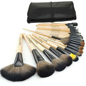 Maupu for You 24 Pcs Professional Cosmetic Makeup Brush Set with Synthetic Leather Case