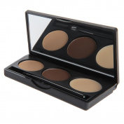 Weksi 3 Colours Eyebrow Pro Cake Powder Eye Brow Palette Makeup Shading Kit with Brush Mirror
