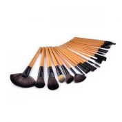 Marian Professional 24-in-1 Cosmetic Makeup Brushes Set with Travelbag - Black + Wooden