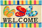 Bright Colours Flip Flop Welcome Jellybean Accent Area Rug