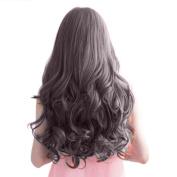 Women Ladies 70cm Long Curly Wavy 6 Clips In On Hair Extensions Full Head Brown Black
