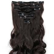 S-noilite 60cm Curly Dark Brown Full Head Hairpiece Clip in Hair Extensions 8 Piece 18 Clips New Products New Design Unique Stylish Dressing 5a Quality