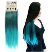 "Kisspat® Turquoise Ombre Dip Dyed Hair Extension-Synthetic Clip In Hair Extension With Gradual Green & Blue Colours, 5 Clips Easy To Apply & Remove, 60cm - 60cm Long, 23cm wide, ""Step By Step"" Instruction For You"