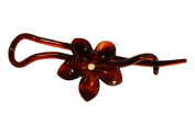Parcelona French Twist N Clip Flower with. Crystal Cellulose Acetate Shell Hair Clip Barrette - Long Lasting