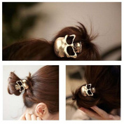 Women's Retro Punk Fashion Metallic 3D Skull HairBand Rope Tie Wrap Ponytail Holder Bronze
