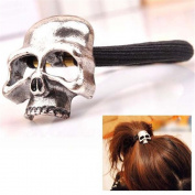 Women's Retro Punk Fashion Metallic 3D Skull HairBand Rope Tie Wrap Ponytail Holder Silver